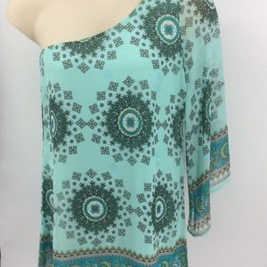 Auditions one shoulder turquoise blouse